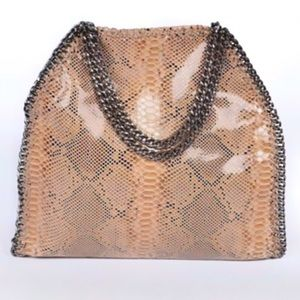 Tan Snakeskin Print Vegan Leather Tote Bag